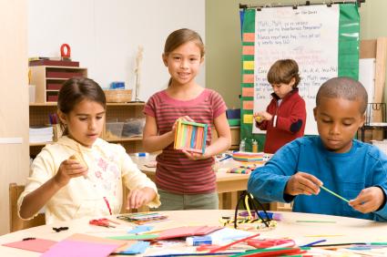 School children creating art